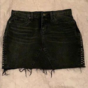 Black Destructed Denim Skirt